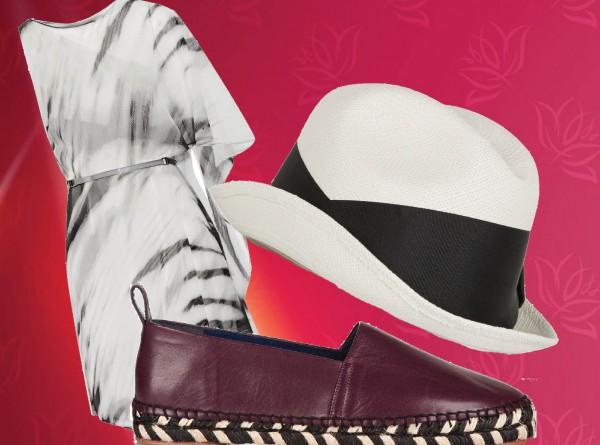 платье HALSTON HERITAGE; шляпа SENSI STUDIO; эспадрильи PROENZA SCHOULER