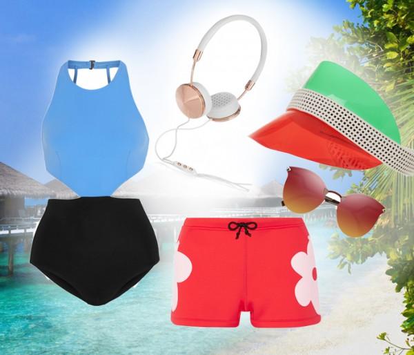 Купальник  FLAGPOLE SWIM; наушники FRENDS; очки FENDI; шорты CYNTHIA ROWLEY