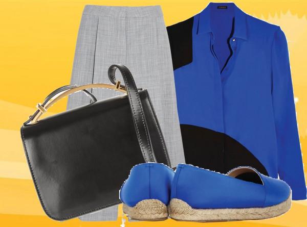 брюки STELLA MCCARTNEY; блуза VERSACE; сумка MARNI; эспадрильи CHRISTIAN LOUBOUTIN
