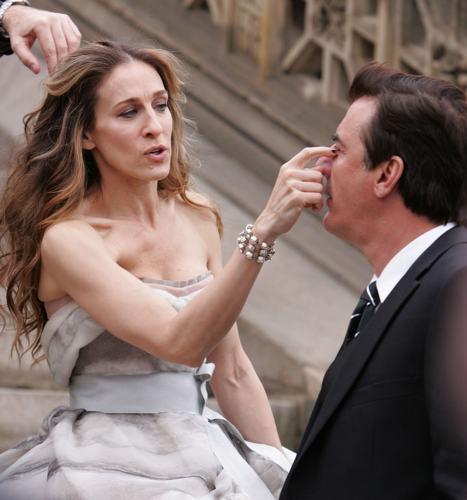 """Sarah Jessica Parker and Chris Noth on Location for """"Sex and the City"""" Photo Shoot in Central Park - March 7, 2008"""