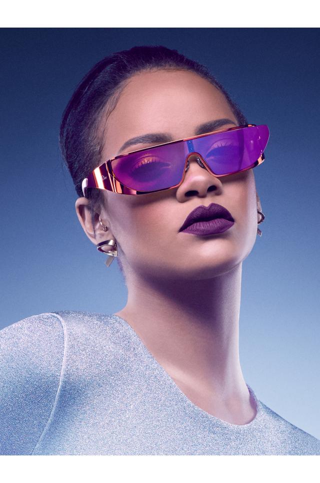 Rihanna wearing frames from her Dior sunglass collaboration.