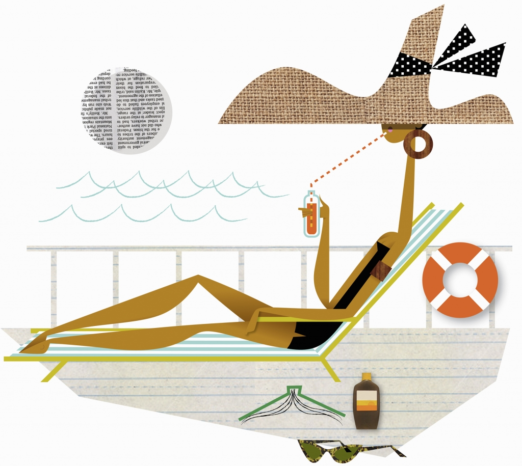 Glamorous woman in sun lounger sipping drink in sunhat on cruise ship deck