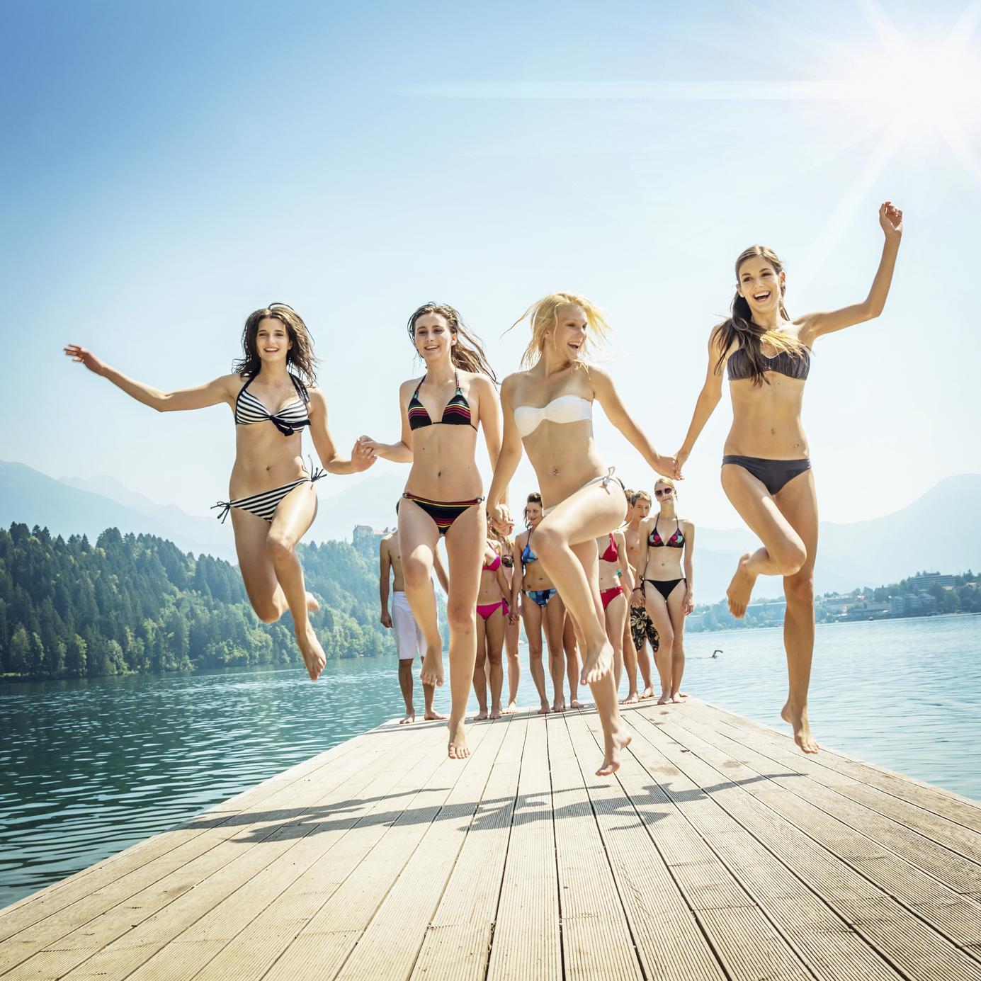 Beach Girls Cheering on Jetty