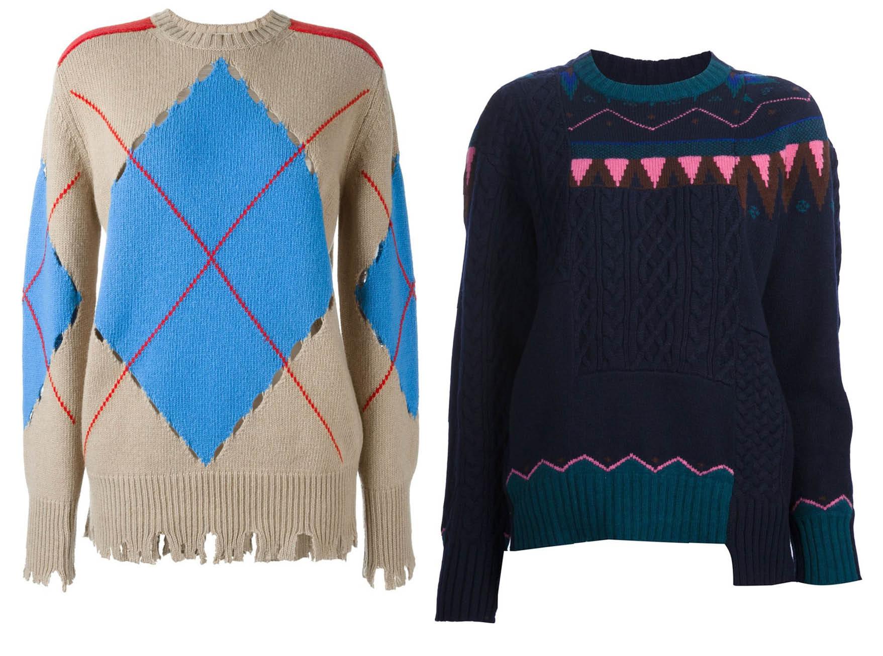 Свитер, MSGM; свитер, SACAI