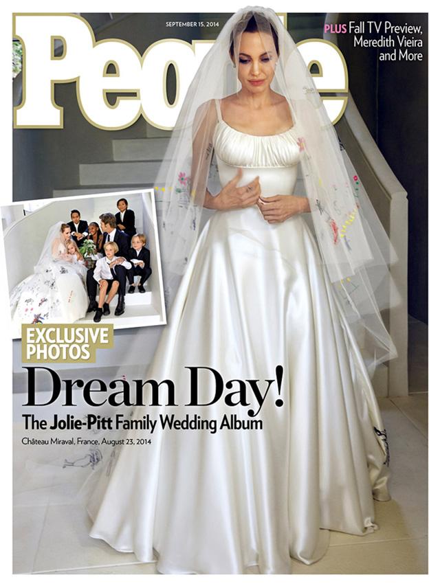 Анджелина Джоли в свадебном платье