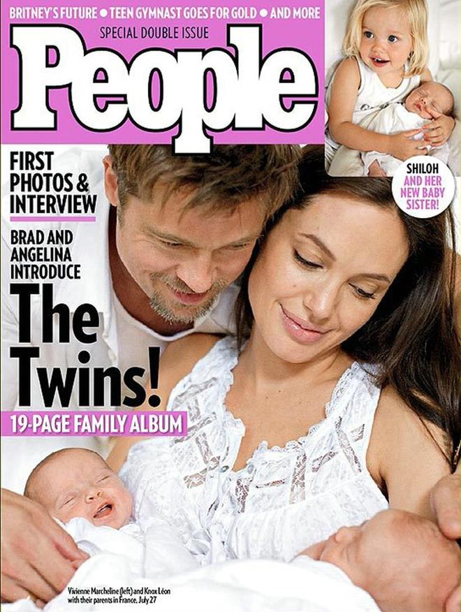 Джоли и Питт с двойняшками Ноксом и Вивьен Маршелин