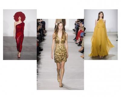 В чем встречать Новый год: идеи нарядов красного, желтого и золотого оттенков-430x480