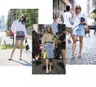 Street style тренд: джинсовая юбка