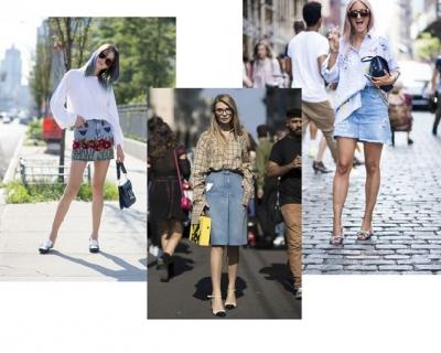 Street style тренд: джинсовая юбка-430x480