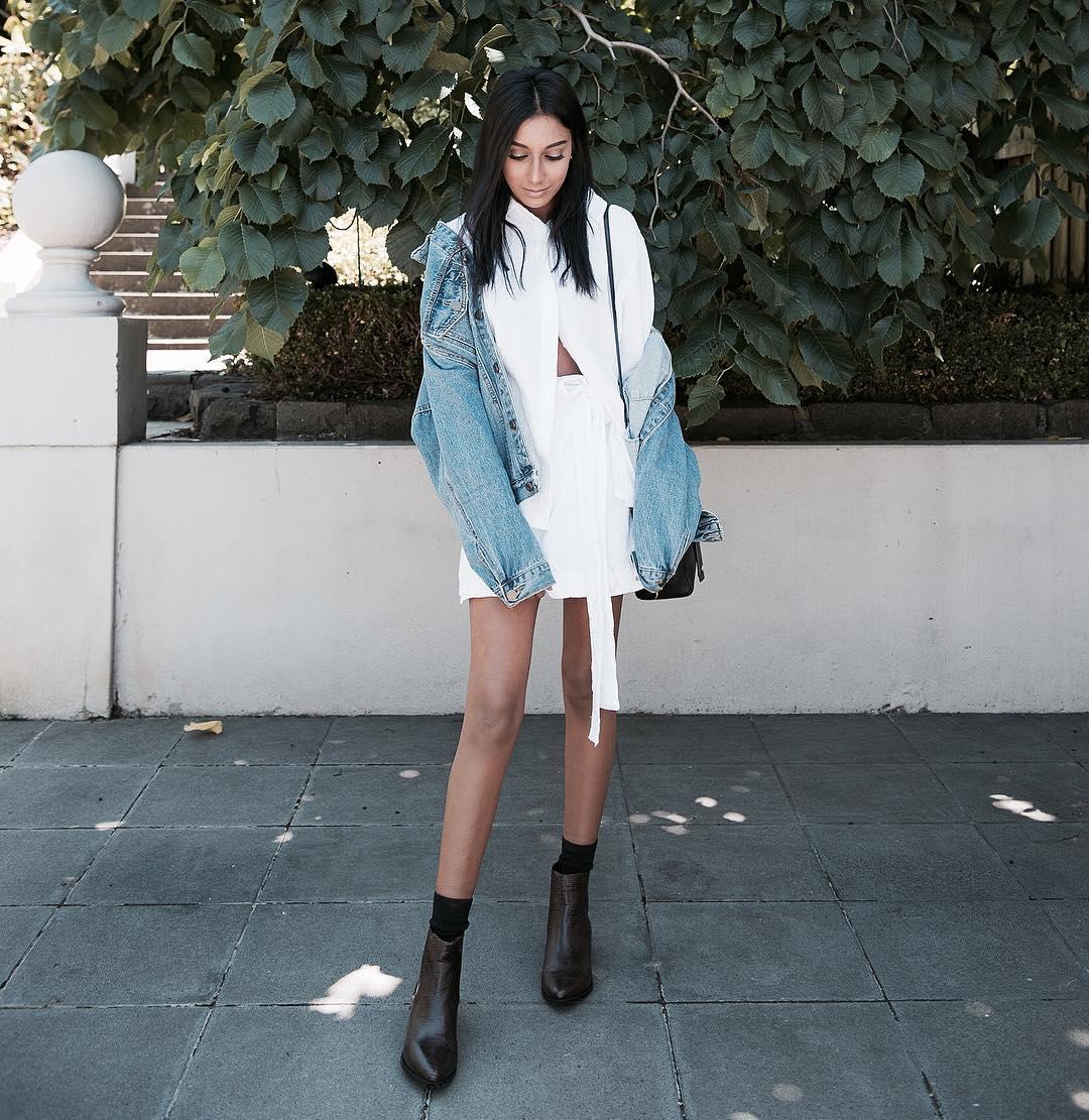 образы с джинсовой курткой - фото 6