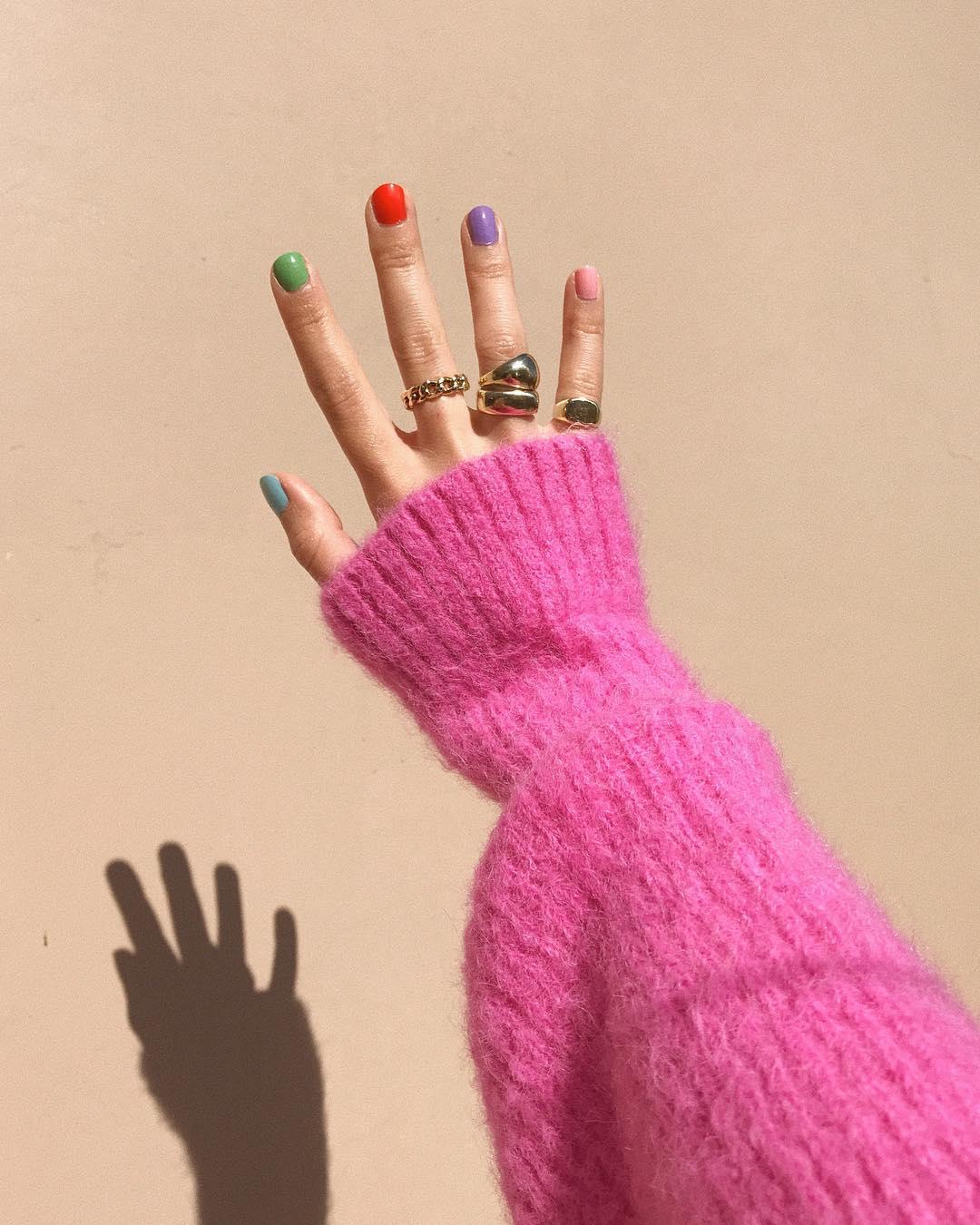 разноцветные ногти сочетание цветов