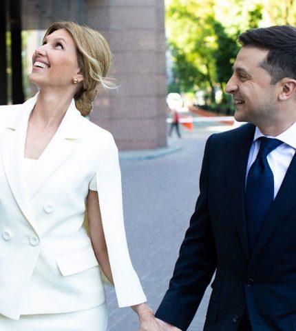 Образ дня: Елена Зеленская в белом костюме от украинского дизайнера-430x480