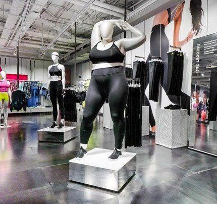 В магазинах Nike появились манекены больших размеров-430x480
