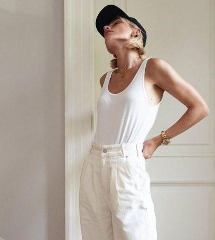 Как носить белые джинсы: 10 стильных образов-430x480