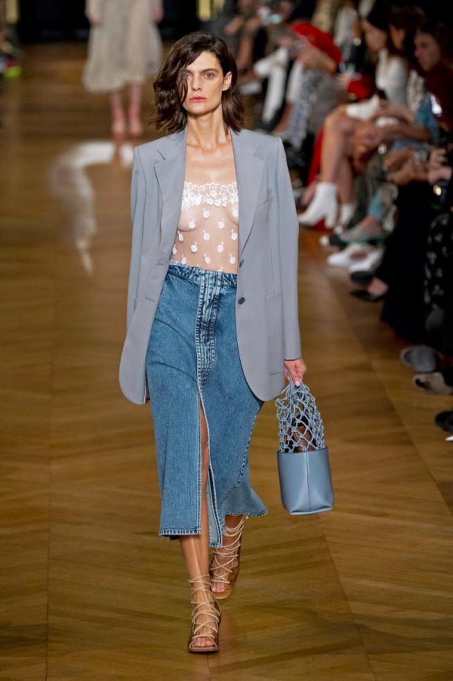 джинсовая юбка миди
