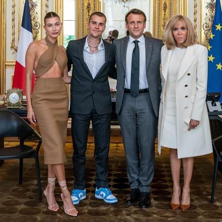 ДжастинБибери Хейли Болдуин встретились с французским президентом Эммануэлем Макроном-Фото 1