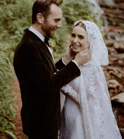 Платье современной принцессы — детали свадебного образа Лили Коллинз отRalphLauren-430x480