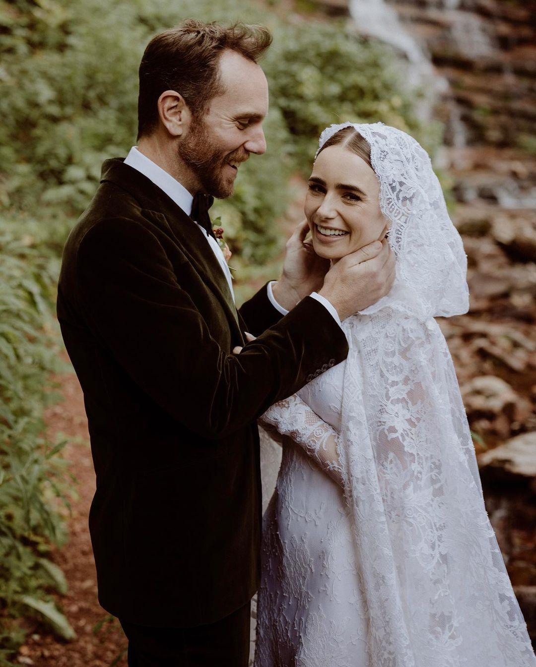 Платье современной принцессы — детали свадебного образа Лили Коллинз отRalphLauren-Фото 1