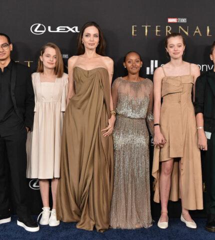 Анджелина Джоли вновь вышла на красную дорожку вместе сдочерями-430x480